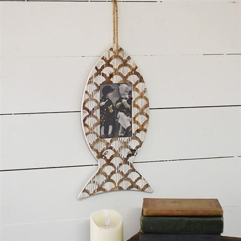 Coastal Fish Shaped Hanging Rustic Photo Frame