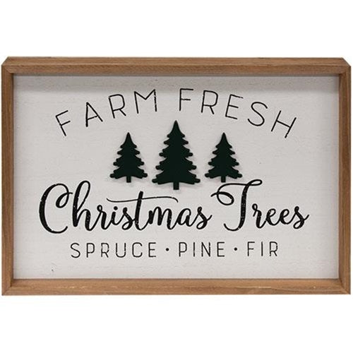 Farm Fresh Trees Framed Wall Sign