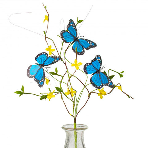 Blue Butterfly Forsythia Twig Faux Spray
