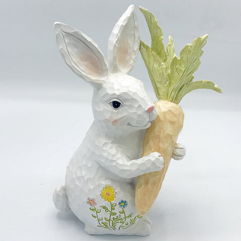 Wood Carved-Look Bunny with Carrot Figure