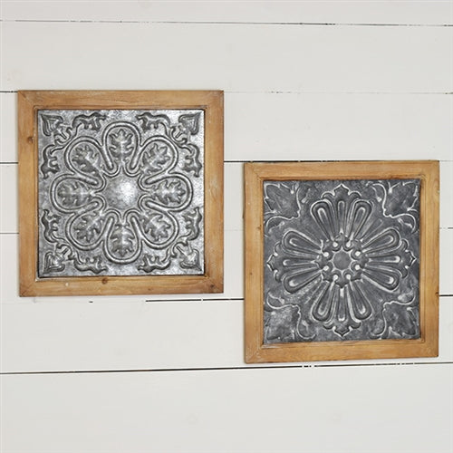 "Set of 2 Tin Wall Tile in Wooden Frame 16"" x 16"""