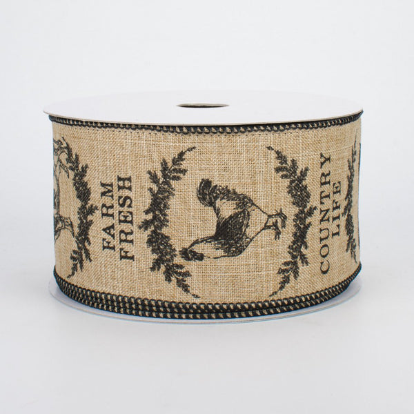 "Farmhouse Animals Light Beige & Black Ribbon 2.5"" W x 10 yards"