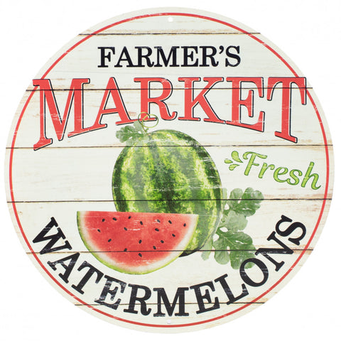 "Farmer's Market Watermelon 12"" Round Metal Sign"