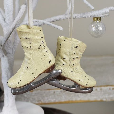 Pair of Nostalgic White Ice Skates Ornaments