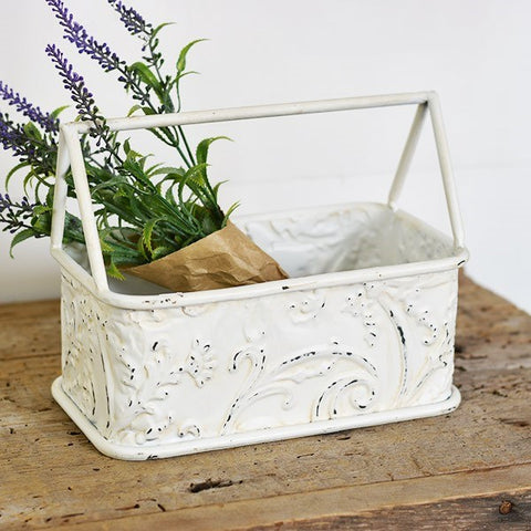 White Pressed Tin Caddy