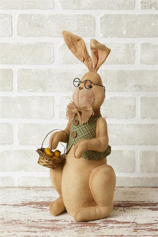 Mr Rabbit Fabric Figure with Easter Basket and Glasses