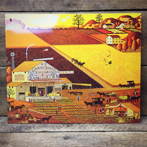 "Charles Wysocki Plunkerton's Country Produce Market Tin Sign 6"" x 9"""