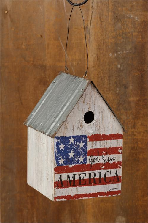 God Bless America Rustic American Flag Birdhouse