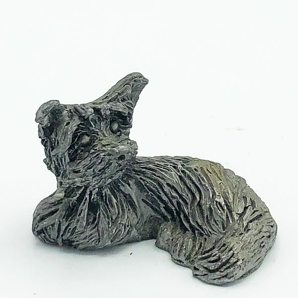 Pewter Yorkshire Terrier Dog Relaxing Small Figure