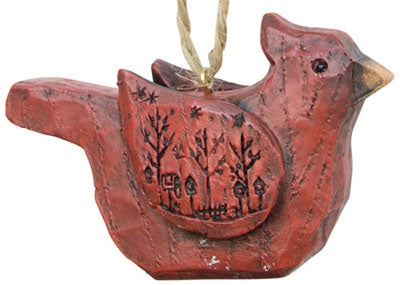 Rustic Carved Cardinal Ornament