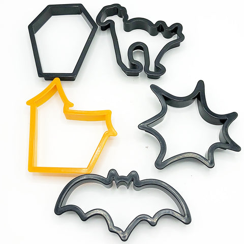 Set of 5 Plastic Halloween Shapes Cookie Cutters Cat Bat & More