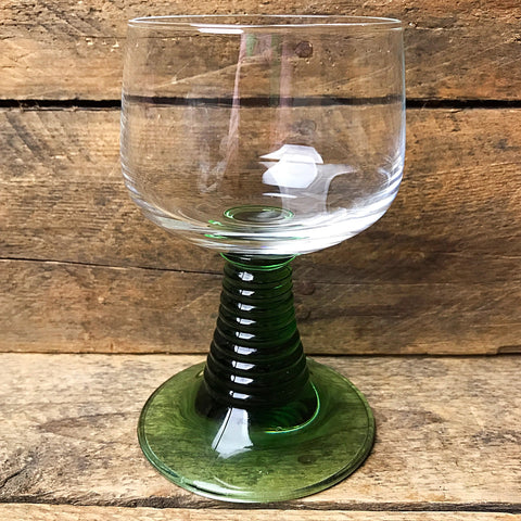 Aperitif Glass - Clear Glass with Green Ridge Base