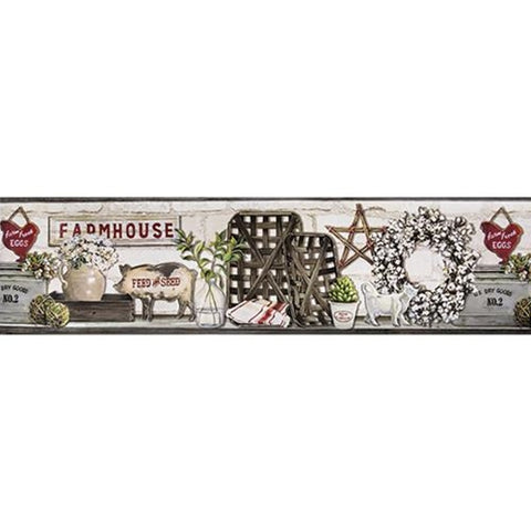Farmhouse Shelf 5 Yards Wallpaper Border - Cotton Chickens Pigs Baskets