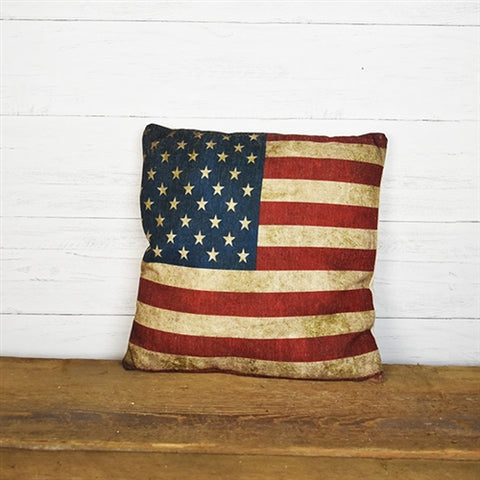 "Americana Flag Linen Throw Pillow 16"" x 16"""
