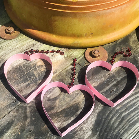 Set of 3 Hanging Pink Metal Cookie Cutter Hearts Decorations