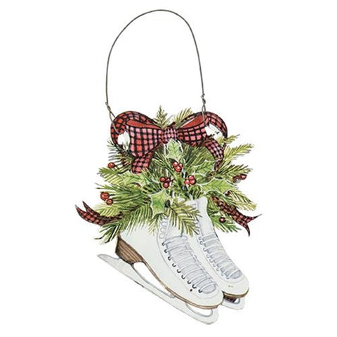 Ice Skates and Holly Metal Ornament