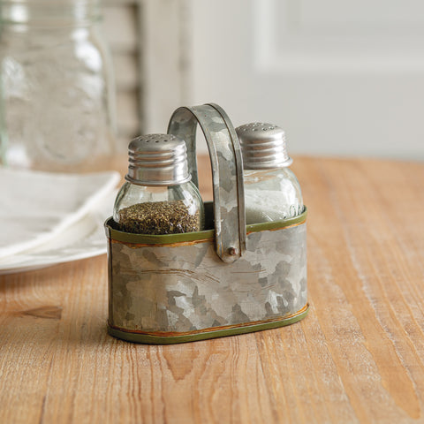 Galvanized Olive Green Trimmed Caddy with Mason Jar Salt & Pepper Shakers