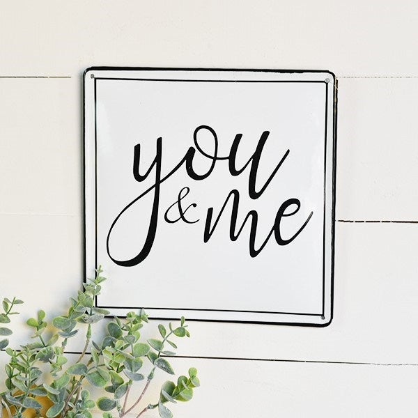 "You & Me 10"" Square White w/ Black Sign"