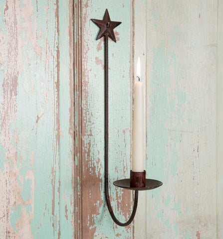 Star Wall Sconce - holds taper candle