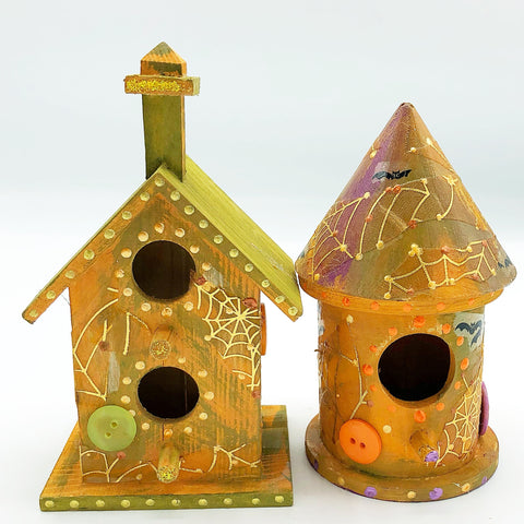 Set of 2 Spooky Buttons Mini Hand Decorated Halloween Birdhouses
