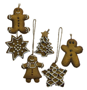Set of 6 Mini Gingerbread Cookie Ornaments