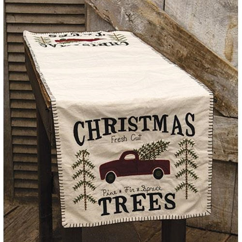 "Christmas Trees Red Truck 48"" L Table Runner"