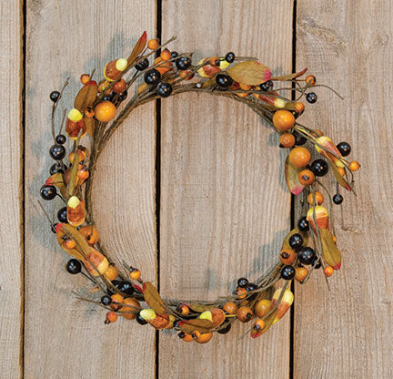 "Rustic Candy Corn and Berries 12"" Wreath"