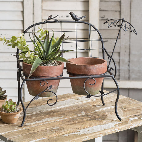 Garden Songbird Bench with Terra Cotta Pots