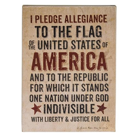 Pledge of Allegiance to the Flag Wooden Box Sign