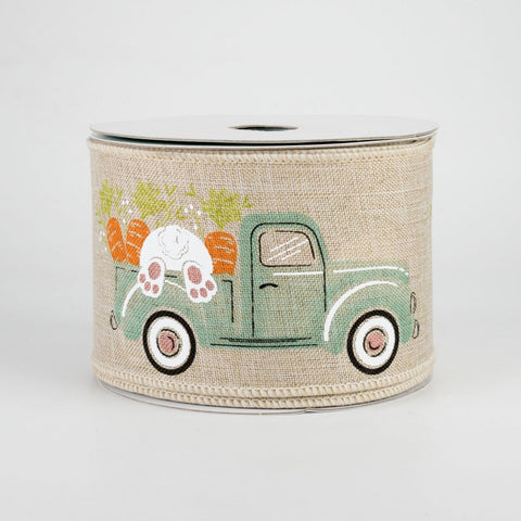 "Pickup Truck With Bunny Ribbon on Natural 2.5"" x 10 yards"