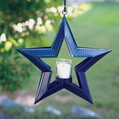 Navy Blue Hanging Star Votive Holder