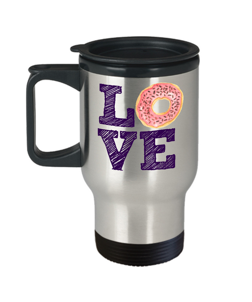 Donut Fan Mug - Love Donuts - 14 oz Travel Mug
