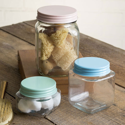 Set of 3 Square Glass Jars with Pastel Lids