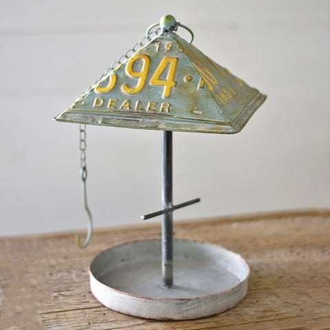 Galvanized License Plate Bird Feeder