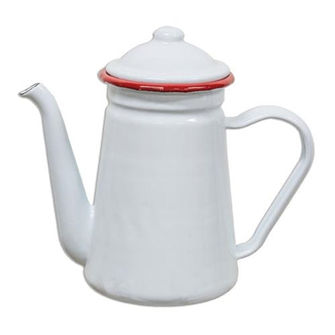 White with Red Rim Enamelware Coffee Pot