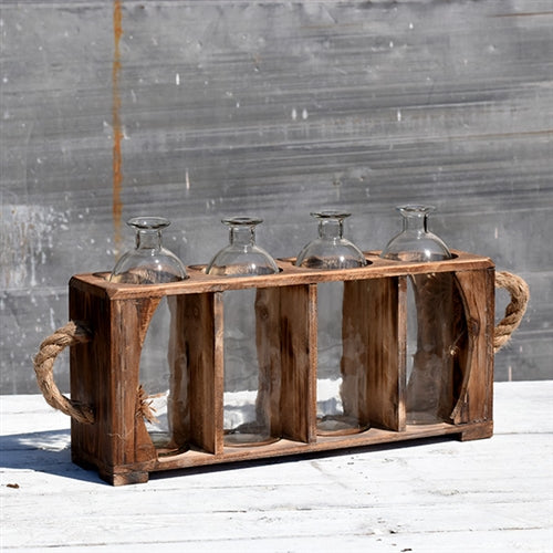 Four Glass Bottle Vases in Rustic Wooden Crate with Twine Handles