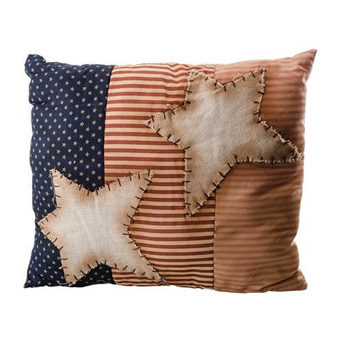 Rustic Star Red White and Blue Flag Pillow Americana