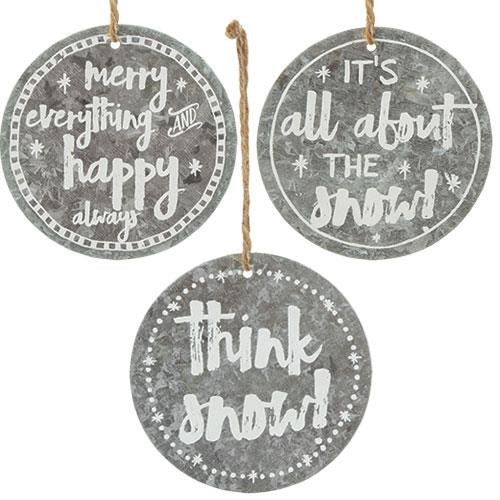 Set of 3 Think Snow Metal Ornaments