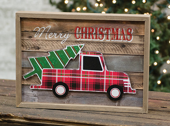 Merry Christmas Truck with Tree Framed Sign