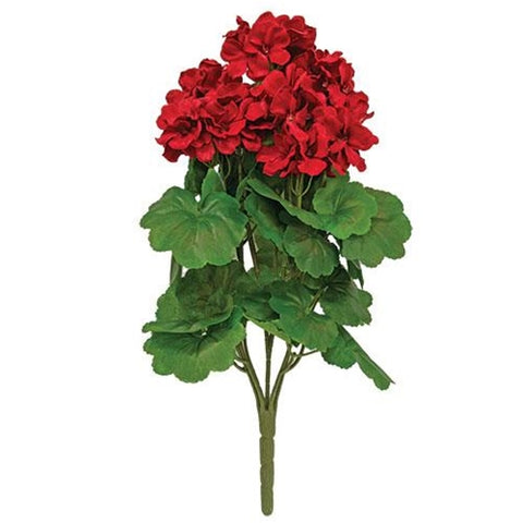 "Red Geranium 17"" Faux Floral Bush"