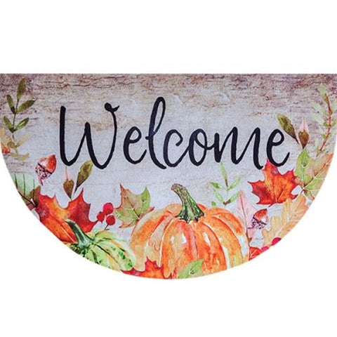 Fall Welcome Pumpkin and Leaves Floor Mat