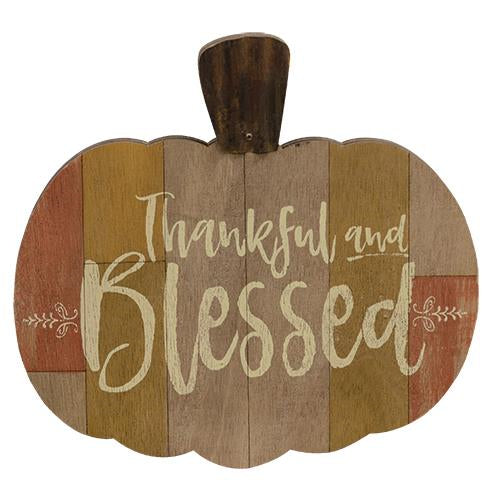 Thankful & Blessed Pumpkin Sign