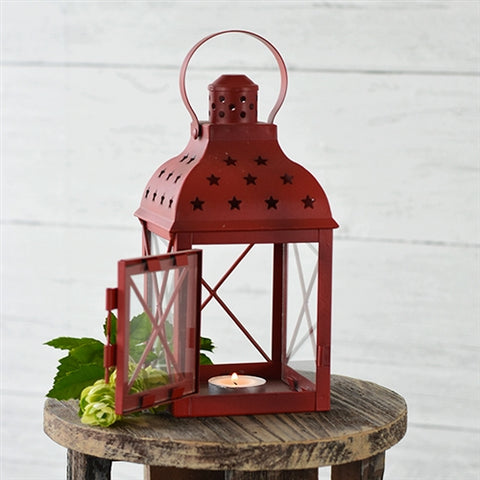 Colonial Red Lantern with Star Cutouts