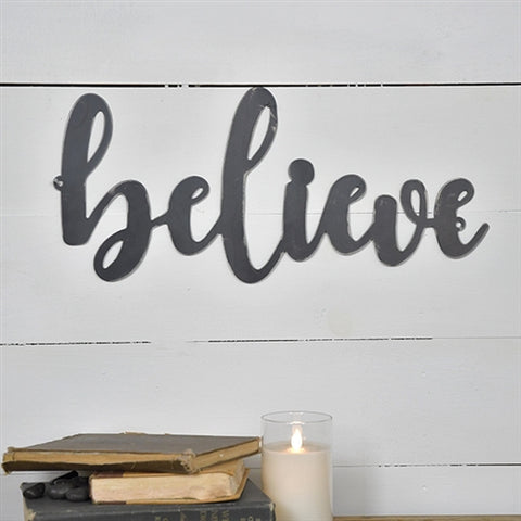 "Believe Script Black Tin 19"" L Sign"