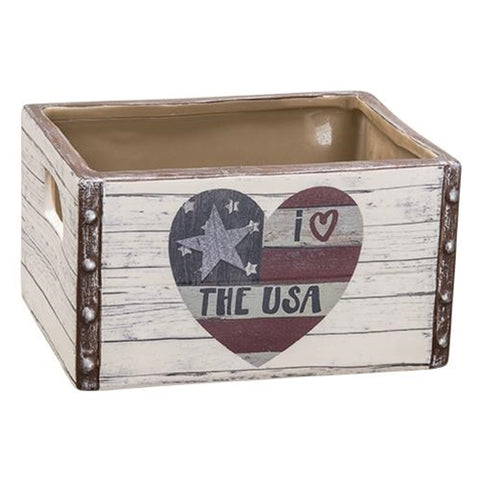 I Love the USA Americana Ceramic Crate