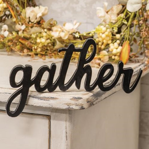 Hanging Black Script Gather Sign