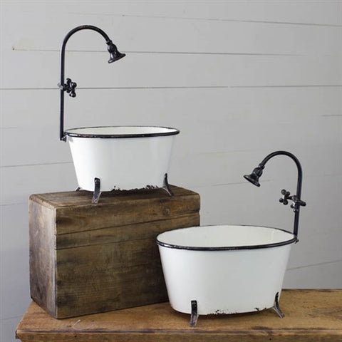 Set of 2 Old Tub Enamelware Planters