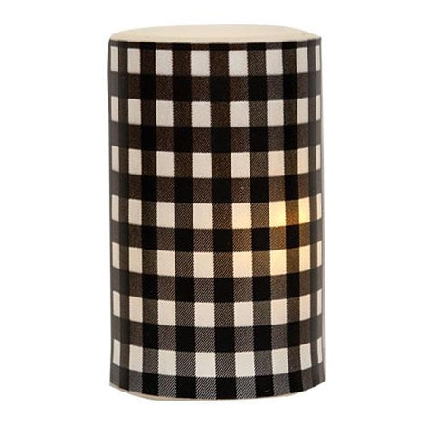 "Black & White Buffalo Checked 3"" x 5"" LED Pillar Candle"