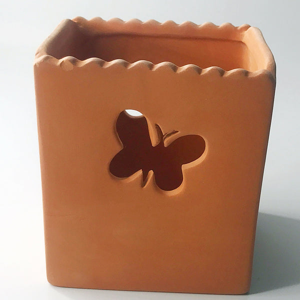 Terra Cotta Butterfly Cut Out Candle Holder