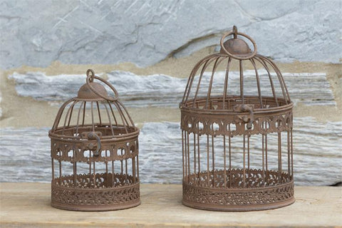 Set of 2 Rustic Decorative Bird Cages